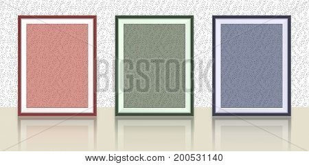 Different types of photo frames on the wall with reflection- background template