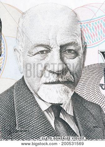 Cleto Gonzalez Viquez portrait from Costa Rican money