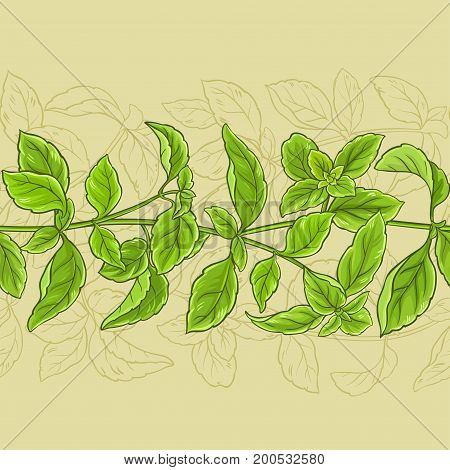 basil leaves vector pattern on color background
