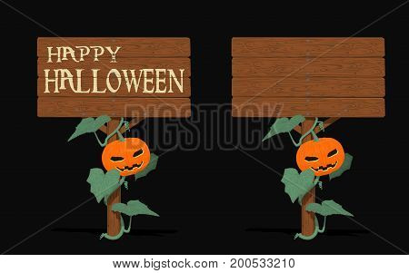 Isolated Halloween signpost with the pumpkin vine on black background