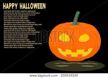 Isolated shining Jack-o'-lantern on black background for halloween celebration