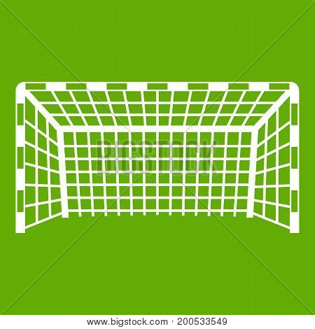Goal post icon white isolated on green background. Vector illustration