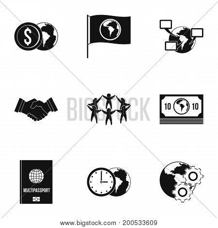 Global communication icon set. Simple set of 9 global communication vector icons for web isolated on white background