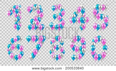 vector illustration. vector illustration. realistic colored balloons on the first, second, third, fourth, fifth, sixth, eighth ninth birthday pink silver blue
