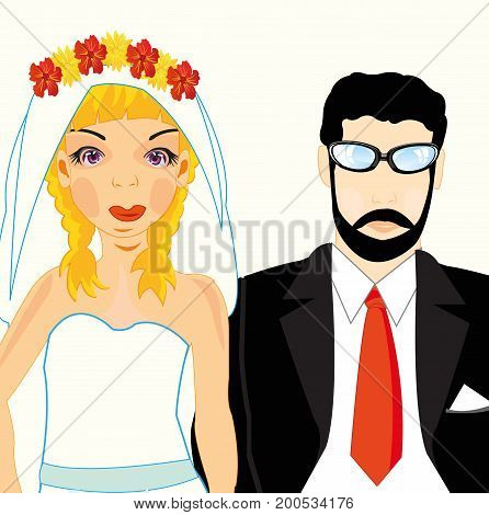 Beautiful pair bridegroom and bride on white background