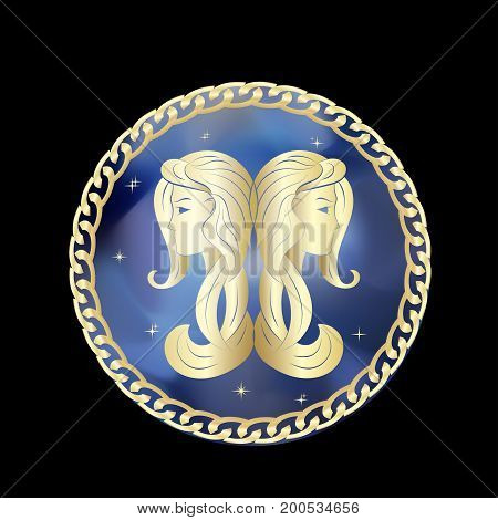 Gemini zodiac sign in golden circle frame