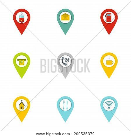 Gps pins icon set. Flat set of 9 gps pins vector icons for web isolated on white background
