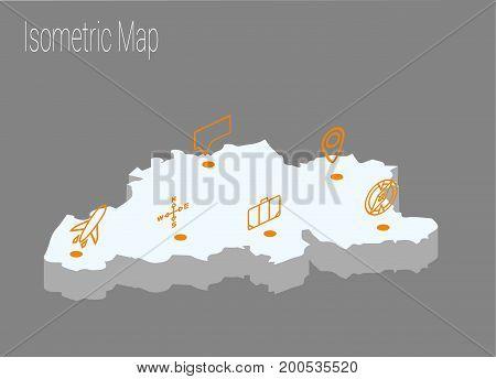 Map Belgiumisometric concept. 3d flat illustration of Map Belgium.