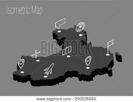 Map China isometric concept. 3d flat illustration of Map China.
