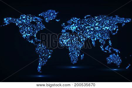 Abstract world map of glowing particles. Vector