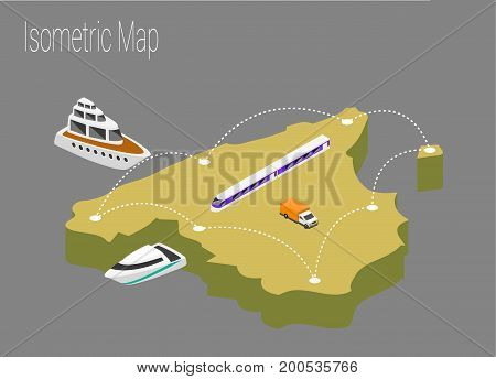 Map Spain isometric concept. 3d flat illustration of Map Spain.
