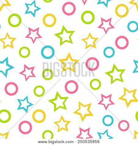 Seamless vector wallpaper color pattern for kids with stars