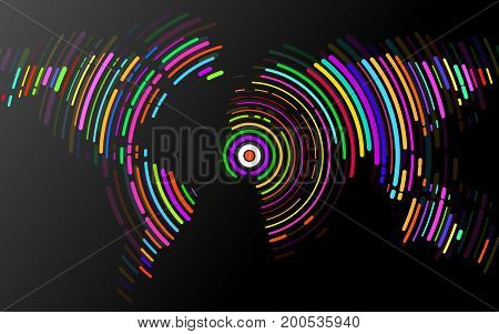 Abstract world map of radial lines. Vector