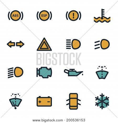 Vector flat car dashboard icons set on white background