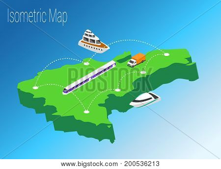 Map Dominican Republic isometric concept. 3d flat illustration of Map Dominican Republic.