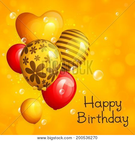 Bunch of birthday yellow and red balloons with pattern. Flying soap bubbles on bokeh background. Vector.