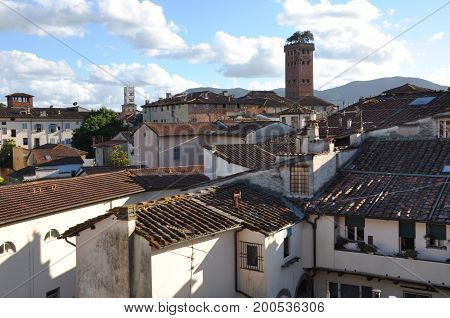 View to the old town of Lucca Toscany Italy
