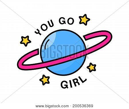 You go girl. Feminism sticker design with planet