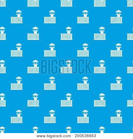 Prison tower pattern repeat seamless in blue color for any design. Vector geometric illustration