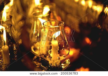 Candle Lit Thai Culture Walk In Asalha Puja Day, Magha Puja Day, Visakha Puja Day