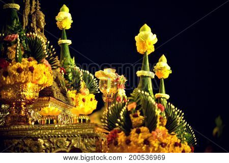 Candle lit thai culture walk in Asalha Puja day Magha Puja day Visakha Puja Day