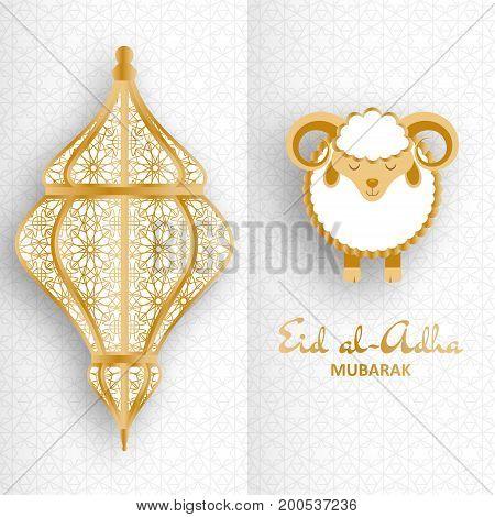 Eid Al Adha Background. Islamic Arabic lantern and sheep. Greeting card. Vector illustration.