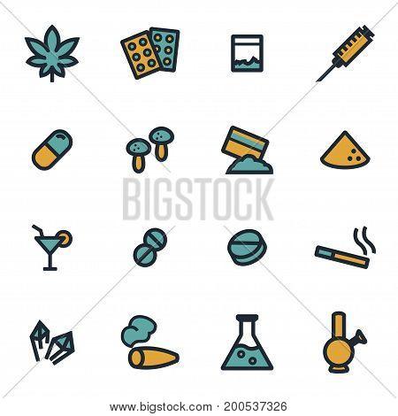 Vector flat drugs icons set on white background