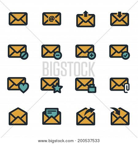 Vector flat email icons set on white background