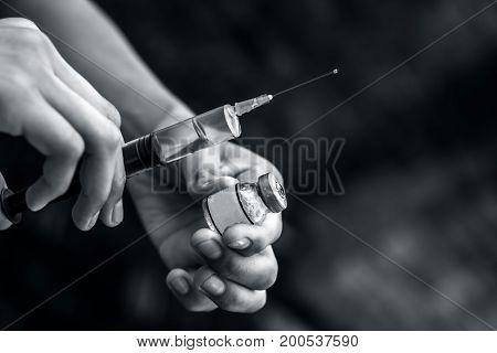 Syringe, Medical Injection, Bottle, Ampule In Hand, Palm Or Fingers. Medicine Plastic Vaccination Eq