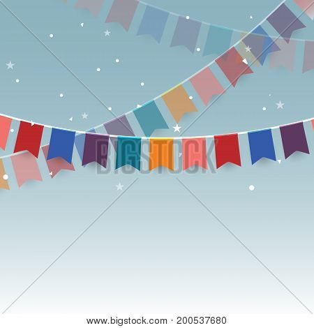 Colorful garlands festive flags and confetti stock vector
