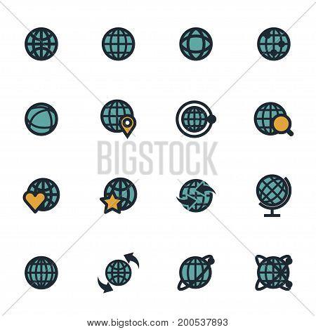 Vector flat globe icons set on white background