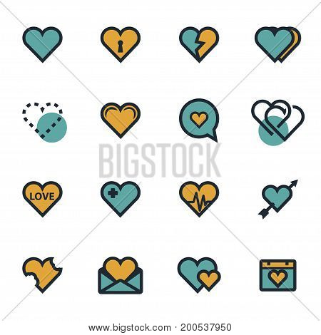 Vector flat heart icons set on white background