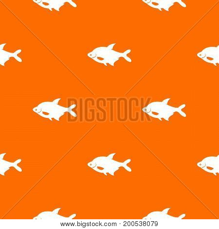 Fish pattern repeat seamless in orange color for any design. Vector geometric illustration