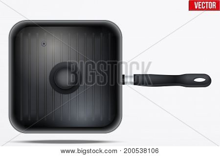 Classic Metal black grill pan with glass lid and handle. Top view and Square shape. Kitchen and domestic symbol. Vector Illustration isolated on background.