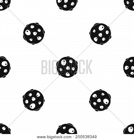 Alone planet pattern repeat seamless in black color for any design. Vector geometric illustration
