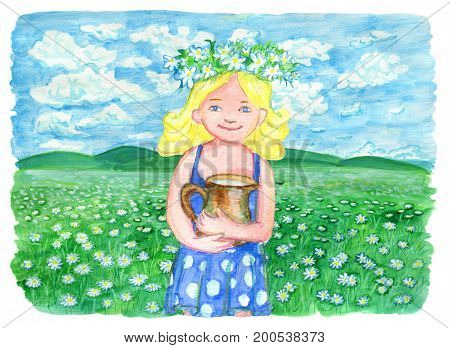Little blonde girl holding jar of milk on the grassland. Vintage rural background with summer landscape, watercolor illustration with design graphic elements
