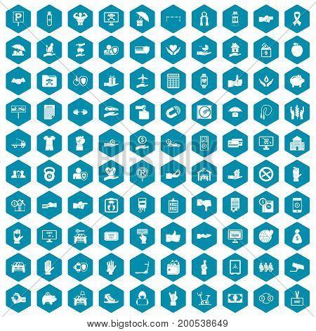100 hand icons set in sapphirine hexagon isolated vector illustration