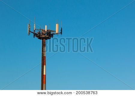Telecommunication Towers with Antennas for Radio Communication and Cell Broadcast