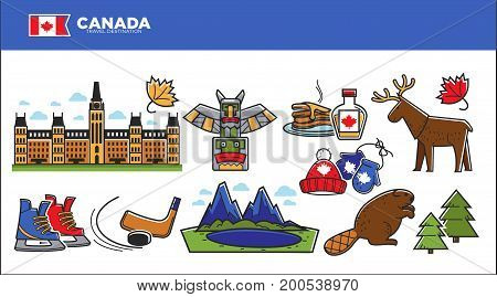 Canada travel destination vector illustration. National architecture, natural landscape, colorful skates, pancakes with maple syrup, knit hats, stick and washer, horned moose and fluffy beaver.