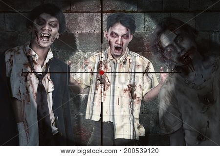 Portrait of three zombie man with blood standing with snipe scope ready for kill