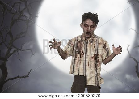 Portrait Of Asian Zombie Man With Blood Standing