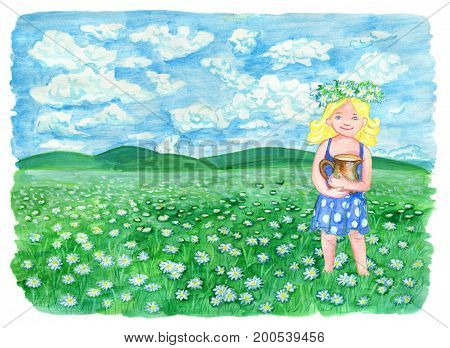 Beautiful girl holding pitcher of milk and standing on the grassland, with copy space. Vintage rural background with summer landscape, watercolor illustration with design graphic elements