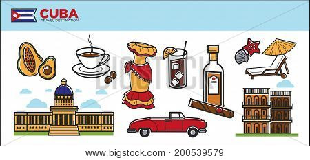 Cuba travel destination promotional poster with country symbols vector illustration. National buildings, traditional womens clothing, famous drinks of high quality, red cabriolet and local fruits.