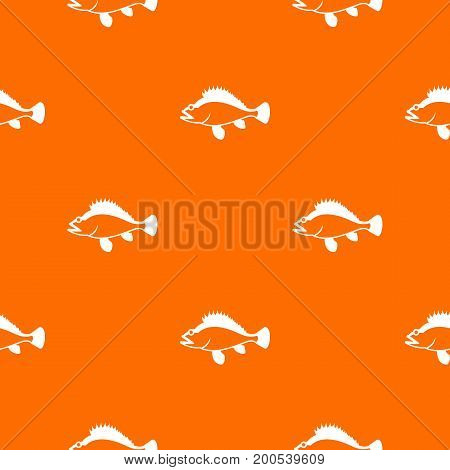 Rose fish, Sebastes norvegicus pattern repeat seamless in orange color for any design. Vector geometric illustration