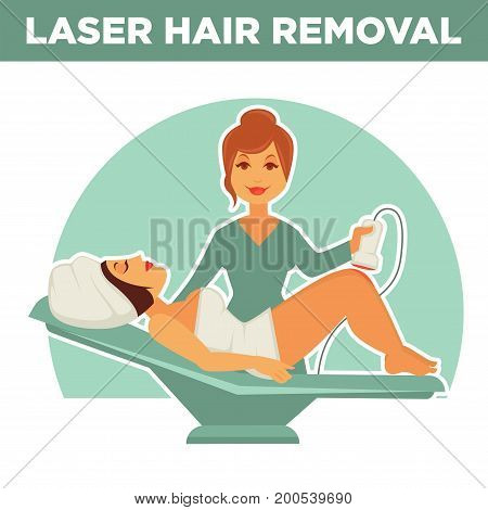 Laser hair removal promotional poster. Professional salon master with special equipment and female client in towels that lies on comfortable recliner and waits for procedure vector illustration.