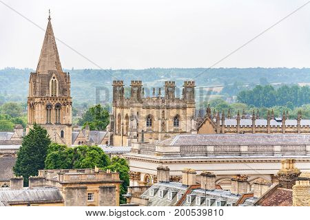 Cathedral at Christ Church college and Tom Tower. Oxford England UK