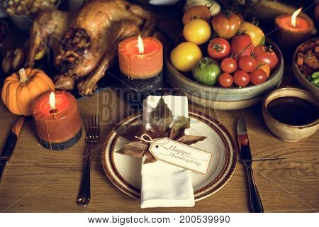 Tomatoes Roasted Turkey Thanksgiving Table Setting Concept