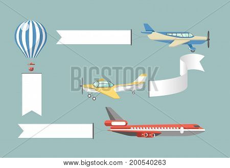 Advertisement black placards attached to striped air balloon, retro monoplane, plane with propeller and large passengers liner isolated cartoon vector illustrations set on turquoise background.