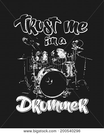 Graphics for Apparel, drummer t-shirt design vector