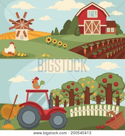 Nice fram with long vegetable beds, big orchard, powerful tractor, small haystacks, old mill, spacious barn, hen on nest with eggs and little chickens and basket of apples vector illustration.